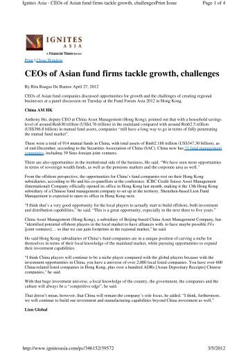 CEOs of Asian fund firms tackle growth, challenges - Lion Global ...