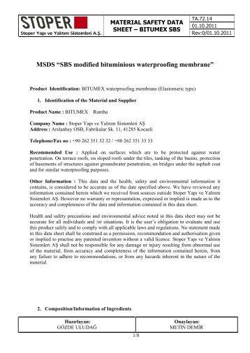 "MSDS ""SBS modified bituminious waterproofing ... - Bitumex.com.tr"