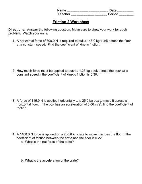 Friction 2 Worksheet