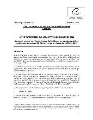 Strasbourg, 13 février 2012 CAHROM (2012)5 COMITE D'EXPERTS ...