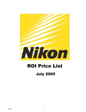 ROI Price List Jul05 revised codes - Nikon