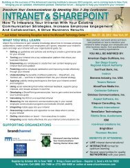 MAXIMIZE the VALUE of your INTRANET - Nov. 27-30, 2012