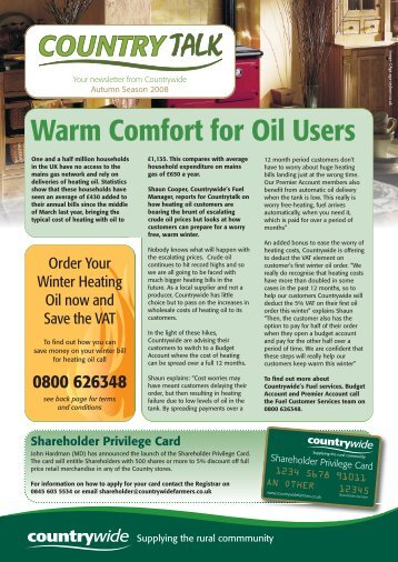 Warm Comfort for Oil Users - Countrywide Farmers