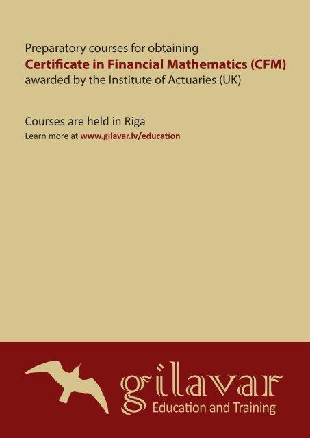 Certificate in Financial Mathematics (CFM) - VBII