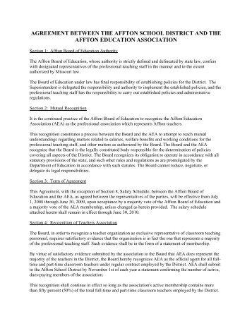 Teachers Collective Agreement Riverside School Board