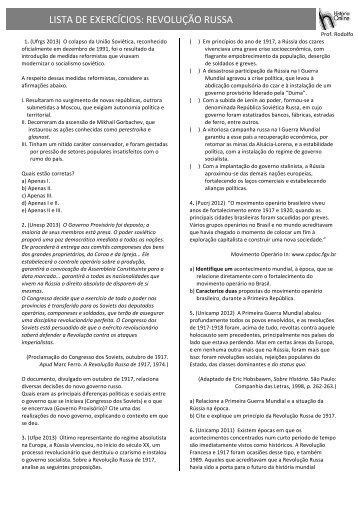 LISTA DE EXERCÍCIOS: REVOLUÇÃO RUSSA