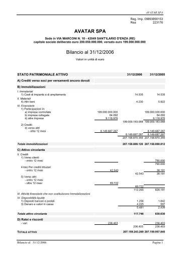 Bilancio 2006 e allegati Acrobat Reader (PDF) - Wgov.org