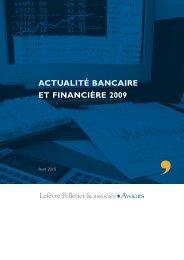 actualité bancaire et financière 2009 - Lefèvre Pelletier & associés