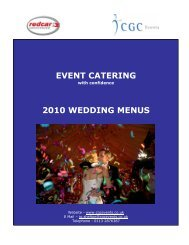 EVENT CATERING 2010 WEDDING MENUS - Redcar Racecourse
