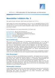 Newsletter Infobüro No. 2 - Netzwerk Psychotherapie und Alternativen