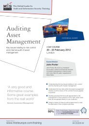 Auditing Asset Management Internal Audit - MIS Training