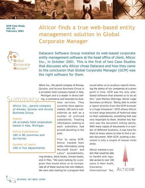 Alticor Case Study qxd - Computershare Governance Services