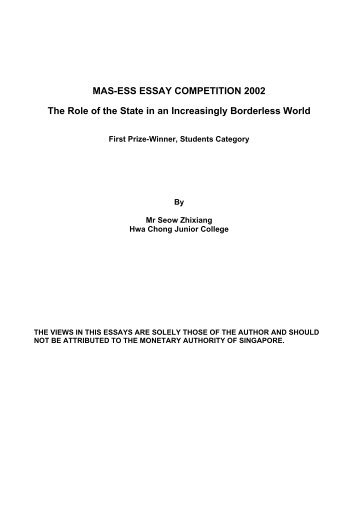First Prize Essay - Economic Society of Singapore