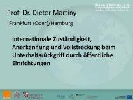 Internationale Zuständigkeit, Anerkennung und Vollstreckung beim ...