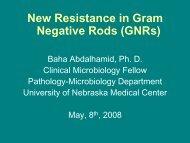 New Resistance in Gram Negative Rods (GNRs) - UNMC