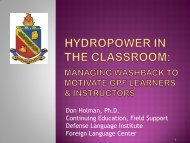 Don Holman, Ph.D. Continuing Education, Field Support Defense ...