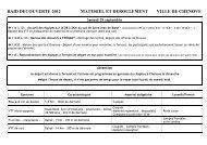 Déroulement et matériel 2012