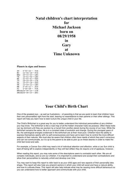 Jackson Michael Childrtf Astrology Detective
