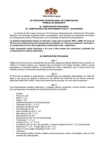 I Concurso Internacional de Composición por ... - Banda Musicale