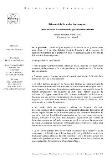 Réforme de la formation des ensiegnats Question orale avec ... - IUFM