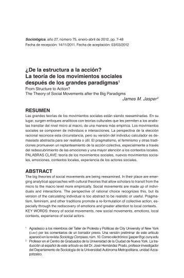 ¿De la estructura a la acción? La teoría de los movimientos sociales ...