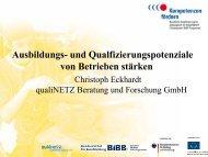 Ausbildungs- und Qualfizierungspotenziale von Betrieben stärken