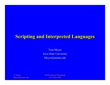 Scripting and Interpreted Languages - CERN