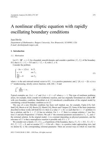A nonlinear elliptic equation with rapidly oscillating ... - IOS Press