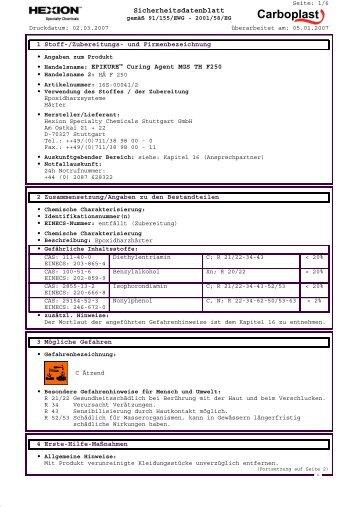 Sicherheitsdatenblatt - Carboplast