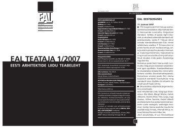 eal teataja 2007 1 web.p65 - Eesti Arhitektide Liit