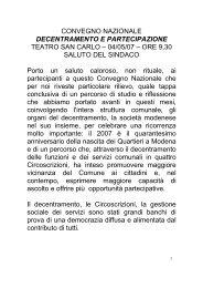 Intervento del Sindaco - Comune di Modena