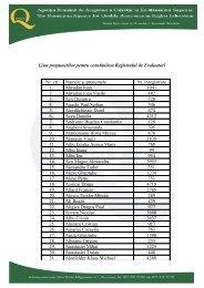 Tabel EVALUATORI - Curriculum Vitae - ARACIS