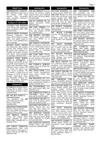 9/3/09 classified ads - Battle Creek Shopper News
