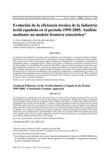 Evolución de la eficiencia técnica de la industria textil española en ...