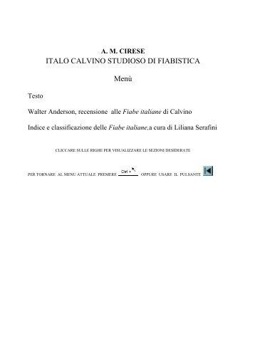 ITALO CALVINO STUDIOSO DI FIABISTICA Menù - Amcirese.it