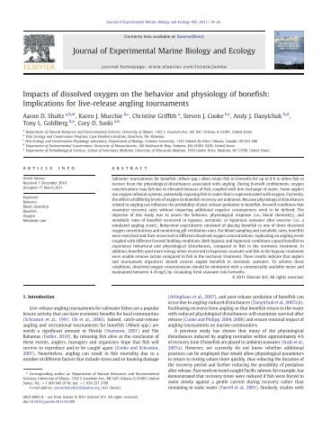 Impacts of dissolved oxygen on the behavior and physiology of ...
