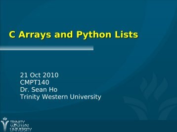 C Arrays and Python Lists