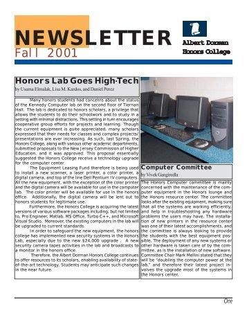 newsletter - Albert Dorman Honors College - New Jersey Institute of ...