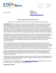 ETA Launches Payment Processor Council - Electronic Transactions ...