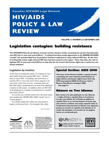 HIV/AIDS Policy & Law Review 13(2-3) — December 2008 - CATIE