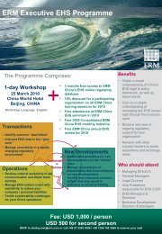 ERM Executive EHS Programme Benefits