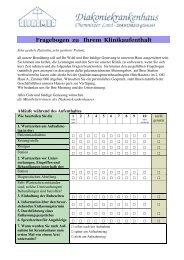 Fragebogen zu Ihrem Klinikaufenthalt - Diakoniekrankenhaus ...