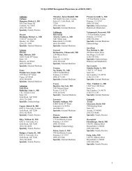 NCQA DPRP Recognized Physicians (as of 08/31/2007) - Hospira