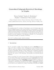 Generalized Subgraph-Restricted Matchings in Graphs - Clemson ...