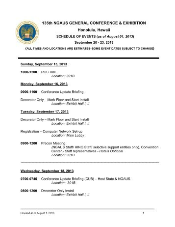 view this comprehensive schedule of events - National Guard ...