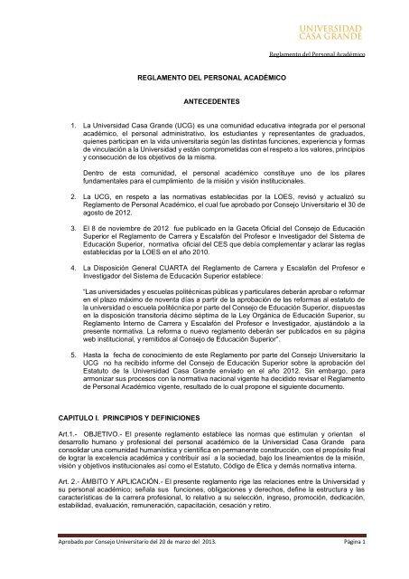 REGLAMENTO DEL PERSONAL ACADÉMICO ANTECEDENTES 1 ...