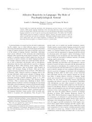 Affective Reactivity in Language - Cognitive Control and ...