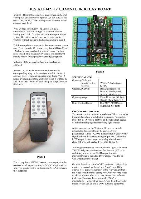 DIY KIT 142  12 CHANNEL IR RELAY BOARD - Kitsrus
