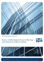 HFA Holdings Limited - Notice of AGM 2008 (SD) 02.09.08