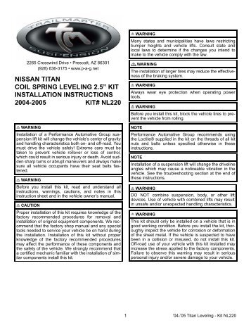 "nissan titan coil spring leveling 2.5"" kit installation instructions 2004 ..."